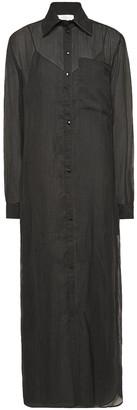 Victoria Victoria Beckham Embroidered Georgette Midi Shirt Dress