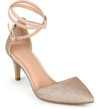 Brinley Co. Women's Glitter D'orsay Pointed Toe Wrap Strap Pumps