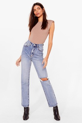 Nasty Gal Womens Guess What We Raw Distressed Straight Leg Jeans - Blue