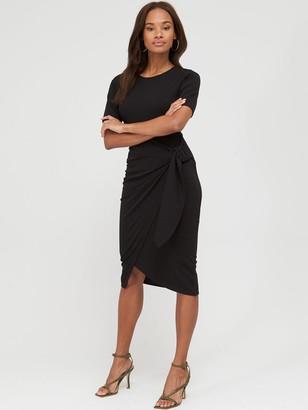 Very Short Sleeve Buckle Side Midi Dress - Black