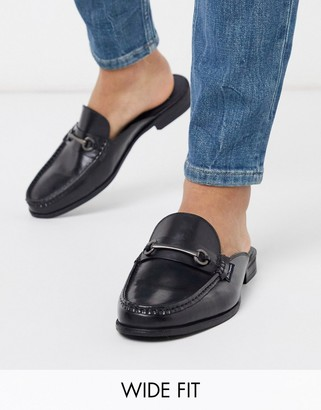 Ben Sherman wide fit leather backless loafer in black