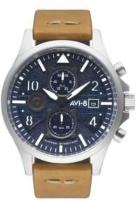 AVI-8 Men's Hawker Hurricane Chronograph Bulman Edition Tan Genuine Leather Strap Watch 45mm