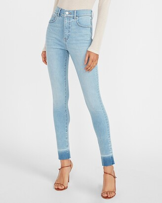 Express High Waisted Supersoft Raw Released Hem Skinny Jeans