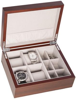 Bey-Berk 4 Watch & 6 Cufflink Storage Box