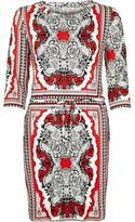 River Island Womens Red tile print bodycon tunic
