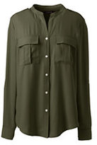 Lands' End Women's Roll Sleeve Military Shirt-Smokey Olive