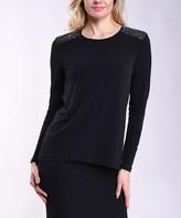 Lbisse Women's Tunics Black - Black & Silver Sparkle-Shoulder Long-Sleeve Crewneck Top - Women & Plus