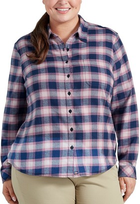 Dickies Plus Size Plaid Brushed Flannel Shirt