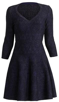 Alaia Metallic Knit V-Neck Dress