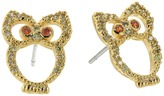 Betsey Johnson Green Owl CZ Stud Earrings