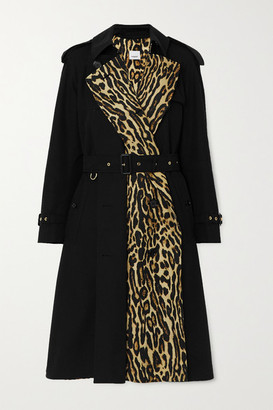 Burberry Leopard-print Cotton-gabardine Trench Coat - Black