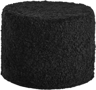 Essentials Short Wool Curly Pouf - Black