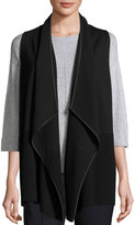 Lafayette 148 New York Asymmetric Ribbed Cardigan Vest, Black