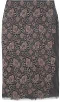 Valentino Embroidered Metallic Mesh Midi Skirt