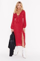Nasty Gal Womens Dot That Into You Tie Midi Dress - Red - 6, Red