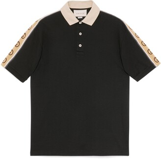 Gucci Cotton polo with Interlocking G stripe