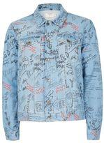 Topman Blue Doodle Print Denim Jacket