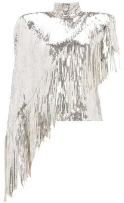 Balmain Asymmetric-fringe Sequinned Top - Silver