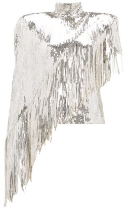 Balmain Asymmetric-fringe Sequinned Top - Womens - Silver