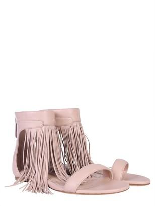 Alexander McQueen Pale Pink Leather Sandal w/ Long Fringes