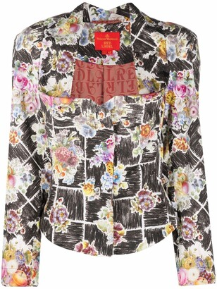 1990s Floral-Print Bustier-Style Jacket