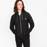 Paul Smith Men's Black Organic-Cotton Zip-Front Zebra Logo Hoodie