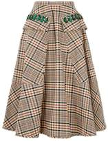 No.21 No. 21 Plaid Cotton Midi Skirt
