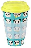 Cambridge Silversmiths CM04679 Panda Bamboo Eco Travel Mug, Yellow and Blue, 9 x 9 x 13 cm