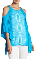Green Dragon Tie-Dye Print Cold Shoulder Tunic