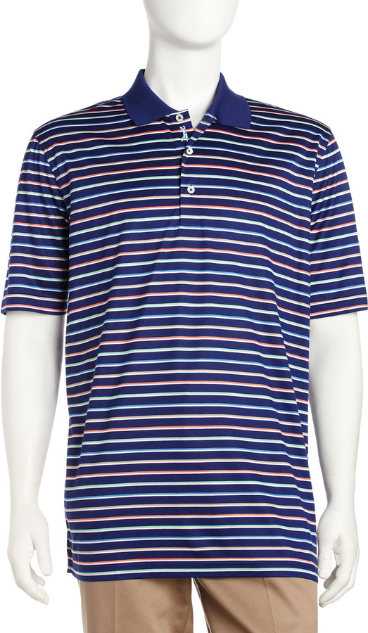 Bobby Jones Striped Short-Sleeve Polo, Lapis