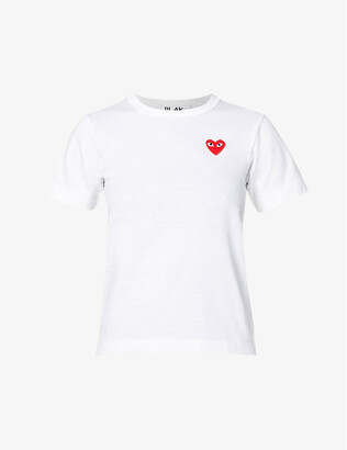 Comme des Garcons Heart-embroidered cotton-jersey T-shirt