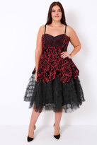 Yours Clothing HELL BUNNY Red Jacquard Print Layered Net Dress