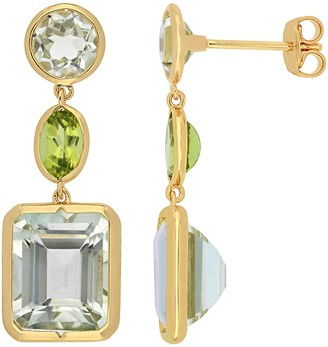 Sterling 11.15 cttw Green Quartz and Peridot Dangle Earrings