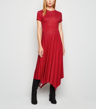 New Look Spot Jersey Hanky Hem Midi Dress