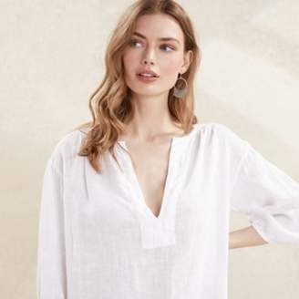 The White Company Linen Gauze Top, White, 4
