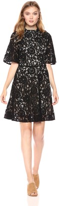 Paris Sunday Women's Sleeve Mock Neck Short Lace Fit and Flare Dress