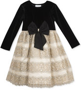 Rare Editions Black Velvet & Gold Party Dress, Toddler & Little Girls (2T-6X)