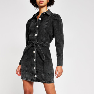 River Island Black puff sleeve denim shirt mini dress
