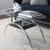 Walker Edison Glass Coffee Table with Black Shelf