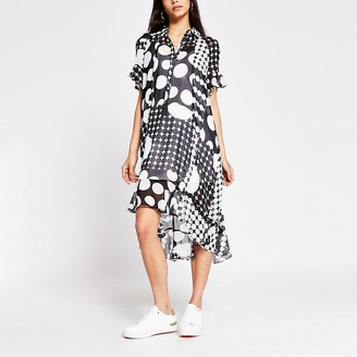 River Island Black spot printed midi shirt dress
