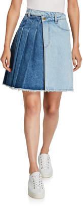 McQ Maru Two-Tone Pleated Denim Kilt Skirt