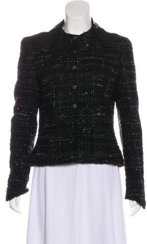 Chanel Leather-Trimmed Tweed Jacket