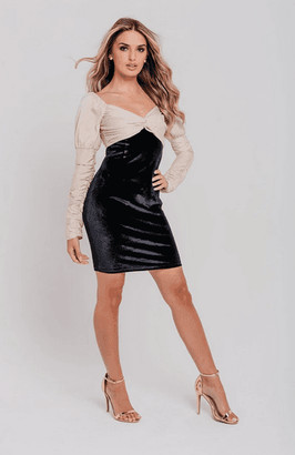 Pretty Darling Black Velvet Champagne Contrast Top Bodycon Dress