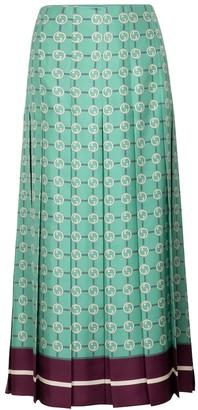 Gucci GG printed silk twill midi skirt