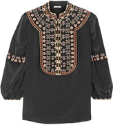 Vilshenko Lucy embroidered washed-silk blouse