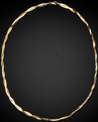 Italian Gold 14K Two-Tone Herringbone Necklace