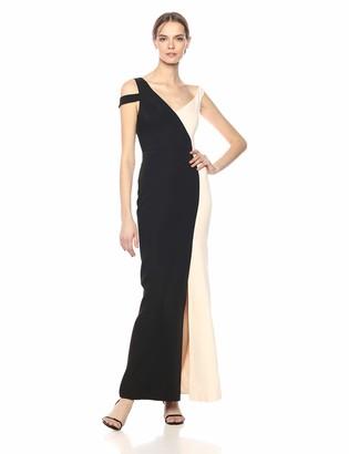 BCBGMAXAZRIA Azria Women's Color-Blocked Cold-Shoulder Gown