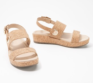 Vionic Leather or Cork Ankle Strap Sandals - Louise