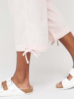 Very Linen Mix Crop Trousers - Pink