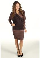 Nicole Miller Ombre Knit V-Neck Blouson Dress (Black Multi) - Apparel